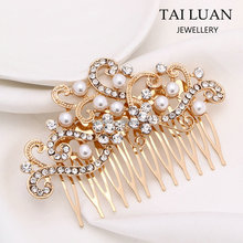Wholesale cheap pearl alloy bridal wedding hair comb