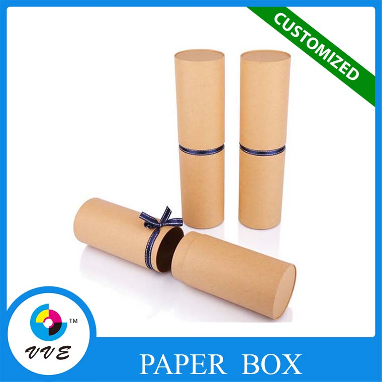 Recycled Kraft Paper Box, Essential Oil Cardboard Boxes,Round Cylinder Gift Packaging Box