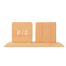 Wooden Clock Alarm Big Wooden Clock Desk Clock With <strong>Pen</strong> <strong>Holder</strong>