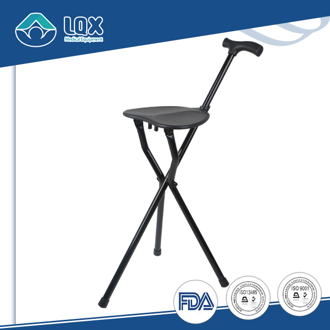 Different color can be optioned aluminum fold walking cane with chair function
