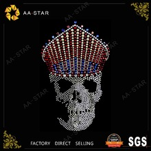 King Leoric design skull rhinestone transfer for garment