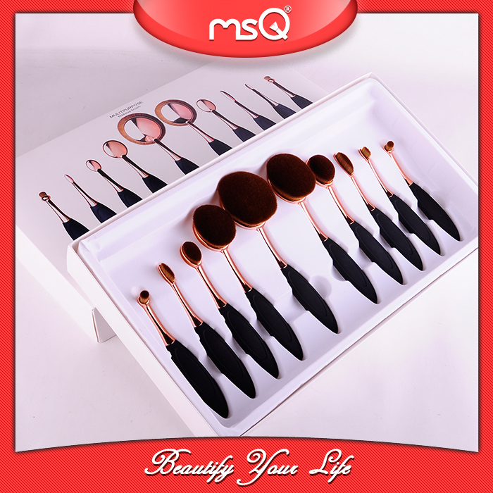 MSQ 10pcs top synthetic hair rose gold oval makeup brush set