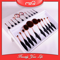 MSQ Top sale 10pcs Tooth Shape Brush Rose Gold Oval Foundation Makeup Brushes Set