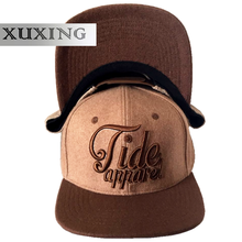 Custom 3D Embroidery Hat Brown Wool Snapback Caps Flat Bill Hat