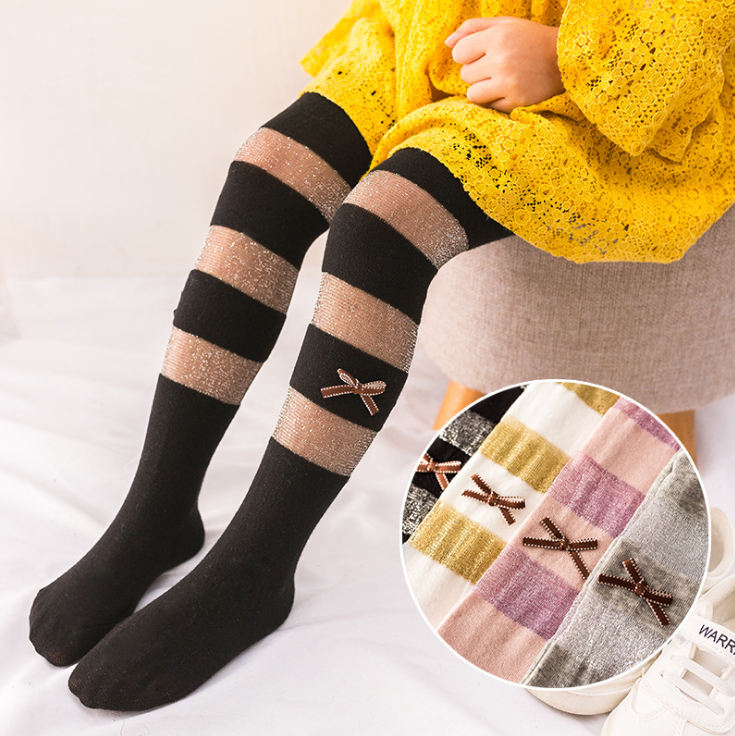 Summer new purl mesh bowknot striped cotton girl pantyhose