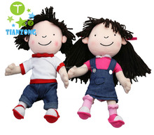 wholesale customers 28cm wool hair plush rag dolls with jeans