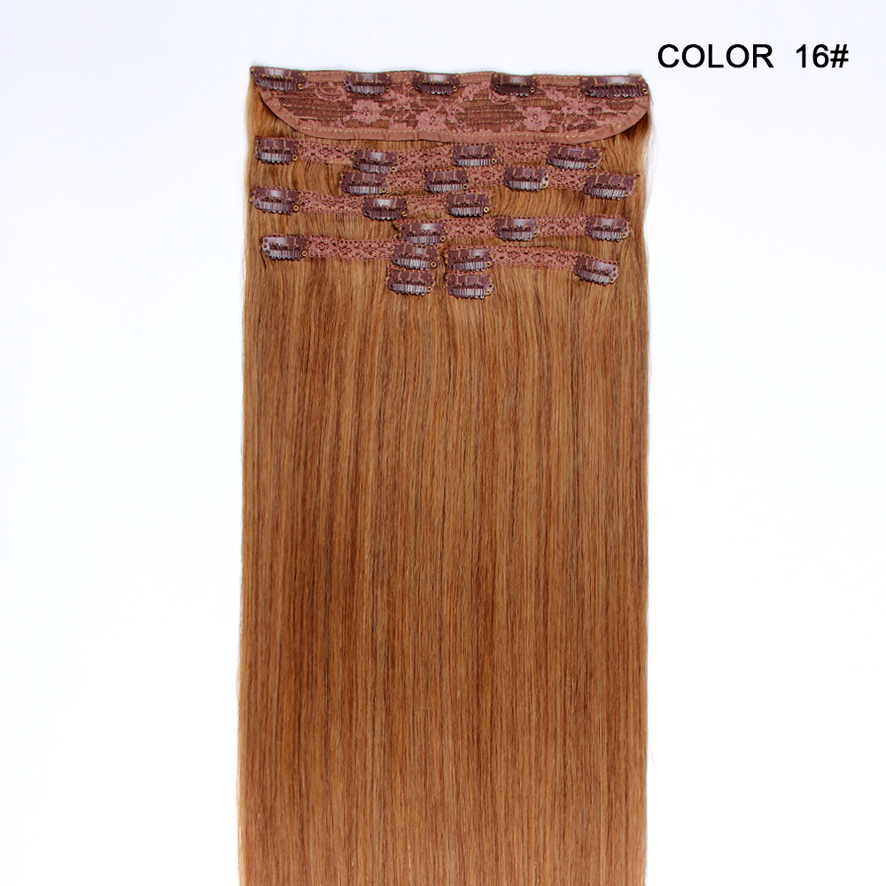 16-26 inch 100 % brazilian remy human hair 9 pieces blonde clip in hair extension