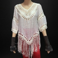 Wholesale White Plain middle sleeve Lace tops lace extender with tassels
