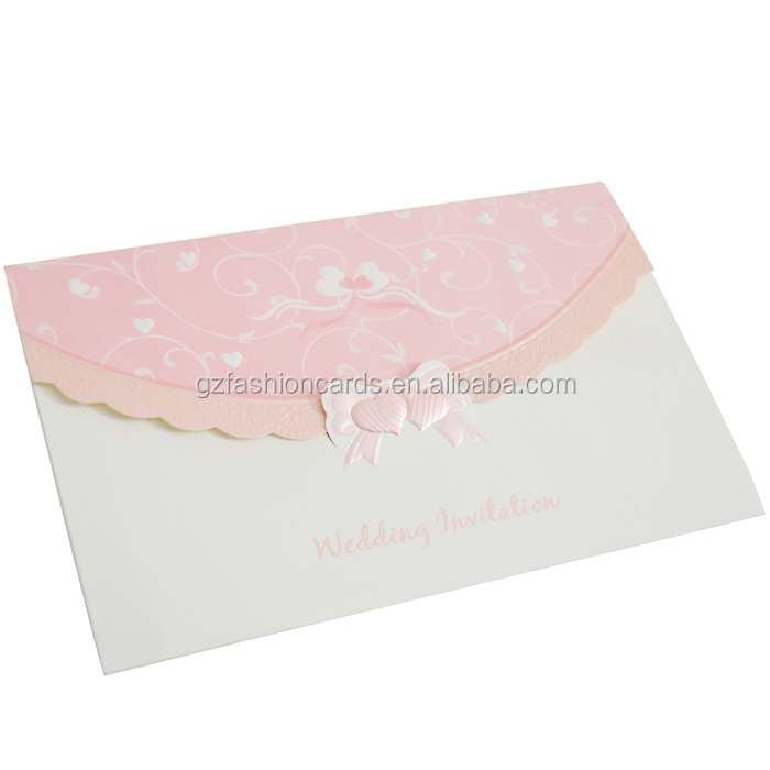 Best Selling Products in America Folded Hard Cover Wedding Invitations Pink