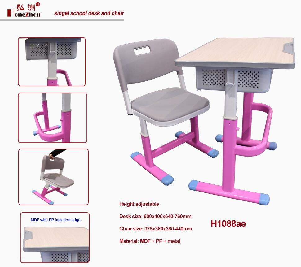 2017 Guangzhou supplier height adjustable study table with chair