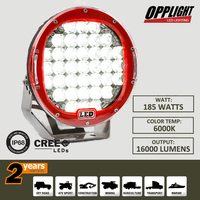 High Power round 185w crees led off road light 12v 9 inch led E-mark Driving Light 185w with red housing
