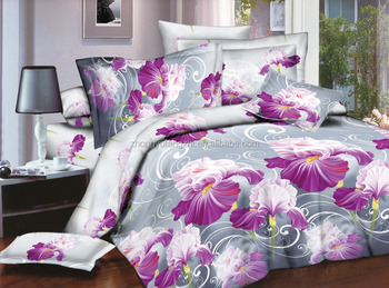 polyester printed brush bed sheet fabric from huzhou factory