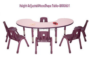 Kindergarten Kids Half Moon Shape Group Table and Chairs