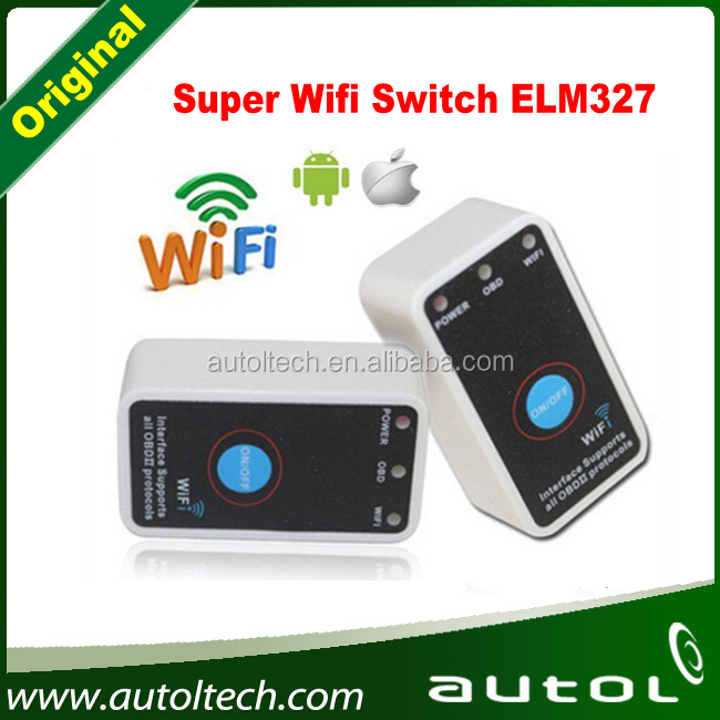 by dhl or ems 20pcs 2016 New Super Mini ELM327 Wifi ELM 327 White OBD2 OBD ii CAN-BUS Diagnostic Tool+Switch Works on Android