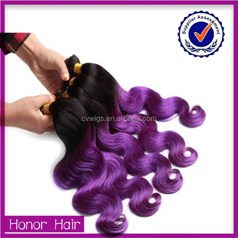 Popular style wholesale body wave 1b purple sew in human hair weave ombre hair