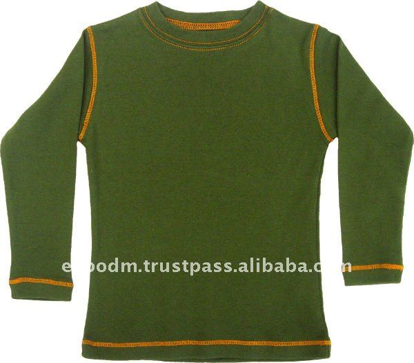 Basic Tee Army Green with Orange Stitch