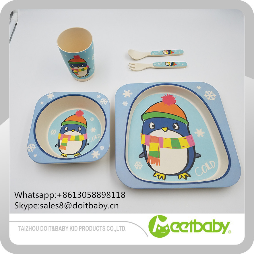 LFB/FDA certificated animal design baby meal dinner sets/kid bamboo fiber dinnerware sets