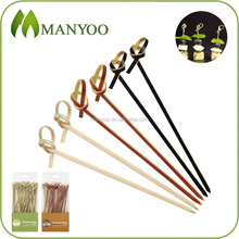 2016 hot selling appetizer/cocktail bamboo knot skewer