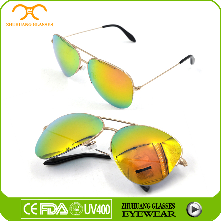 FDA&CE free sample cheap price custom logo mirror lens aviator sunglasses
