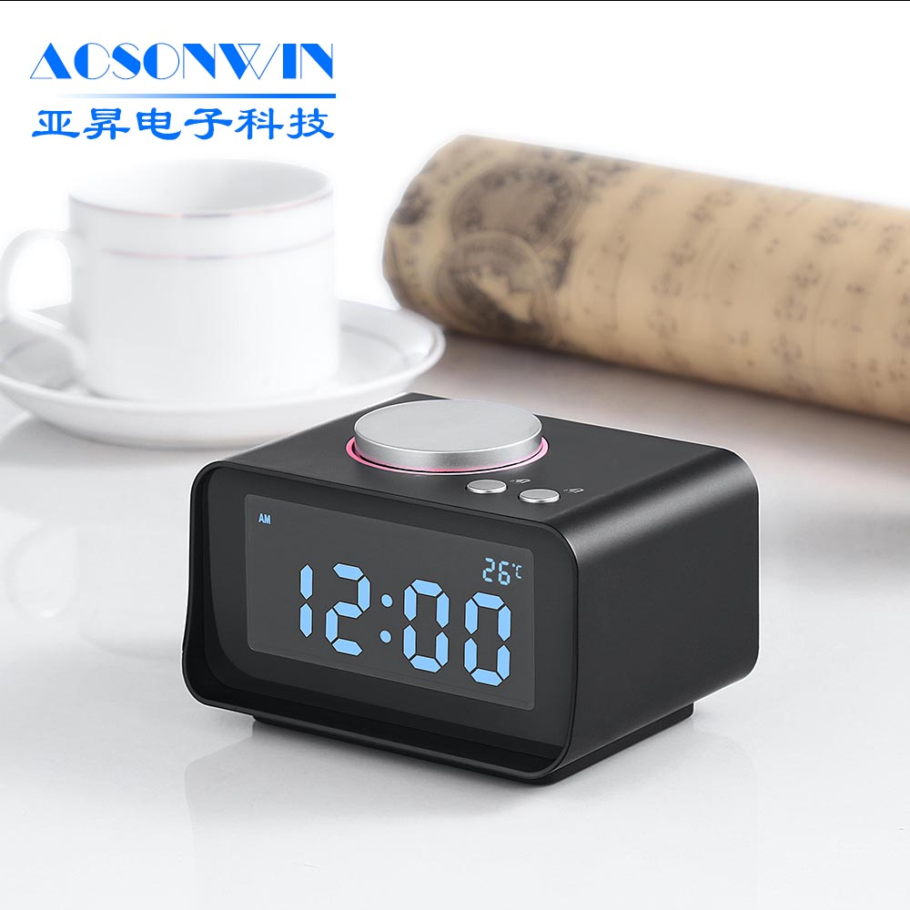 Multi-function Hotel Desk Alarm Clock Radio with Dual Port USB for iPhone