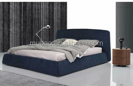 modern black color fabric cover wood frame base double bed designs in wood