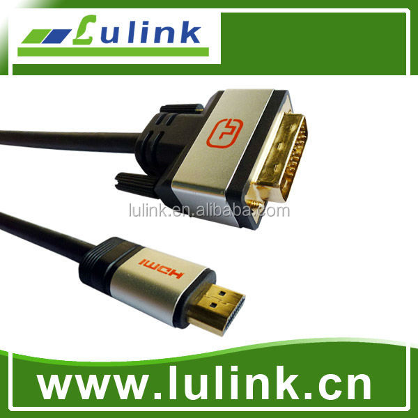 NEW metal shell DVI TO HDMI 1.4 CABLE,HDMI M to DVI 18+1/24+1 M Cable,gold plated connector