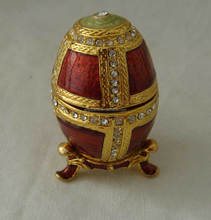 Mix Enamel Color & Crystals Faberge Egg Metal Trinket Box(P05074d)