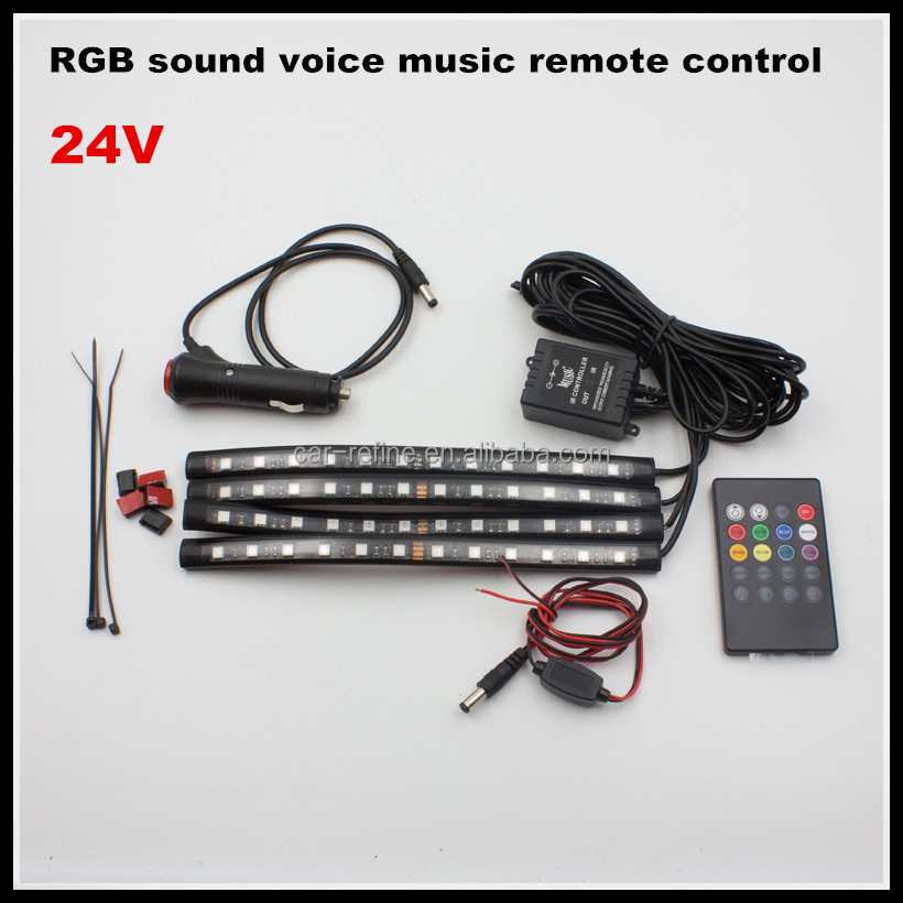 24V 30CM Wireless Remote 7 Color RGB Music Voice Control Interior Atmosphere Light Bar Car Floor Dash LED Decoration Lamp Kit