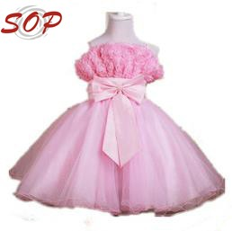 pink flower girl dress for 7 years old made in china