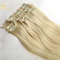 Wholesale tangle free 100% remy virgin human hair Clip in hair extension #60