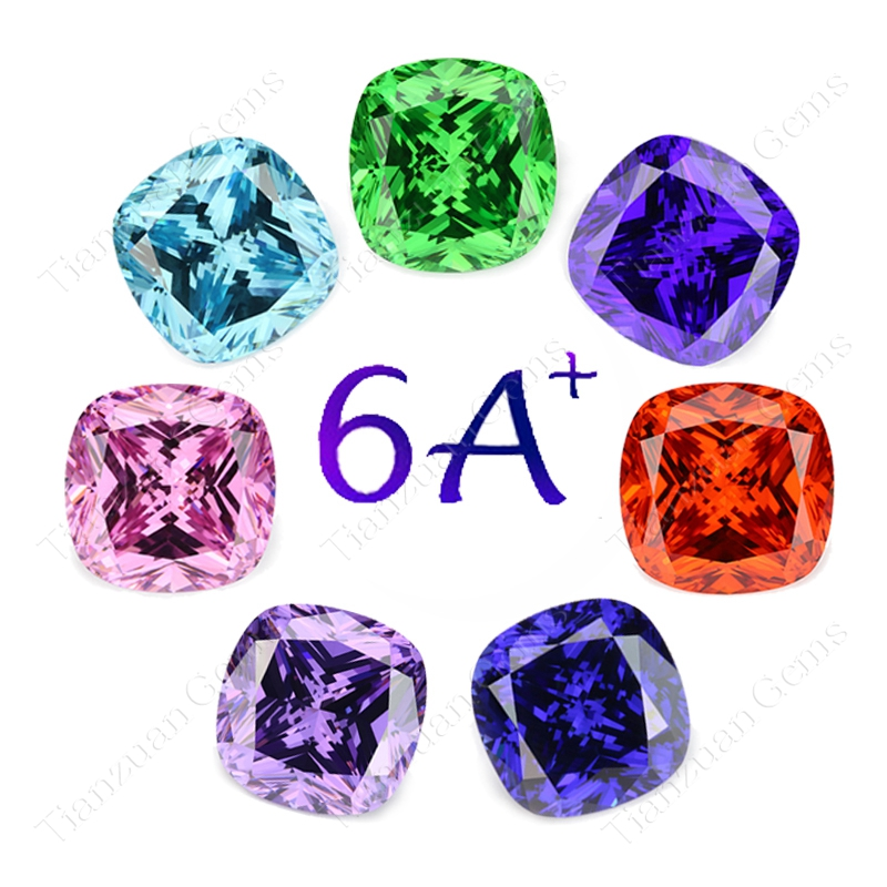 6A+ quality various color cushion cut square shape cubic zirconia loose CZ gem stone
