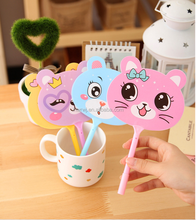 Promotional cute stationery Novelty customized cheap best quality short fan shaped cat design plastic ballpoint pen for gift