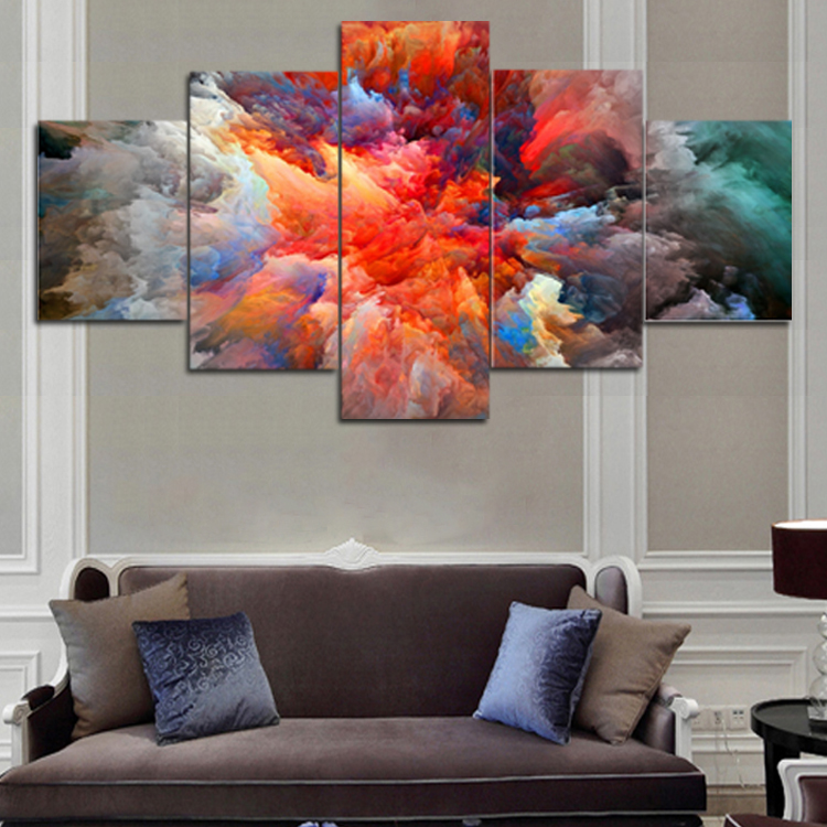 2017 Rushed Canvas Painting Unframed 5 Panels Abstract Canvas Print Painting Modern Wall Art For Pcture Home Decor Artwork