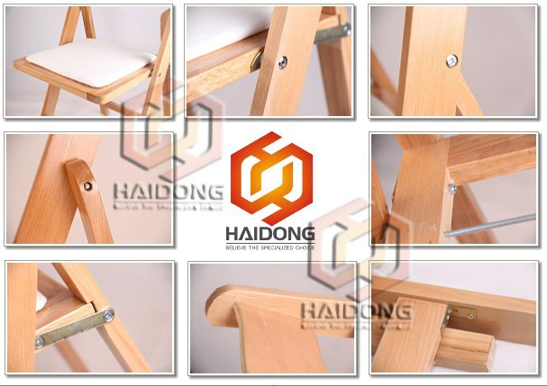 Brown Color Foldable Silla Avantgarde Wooden Folding Wedding Chair
