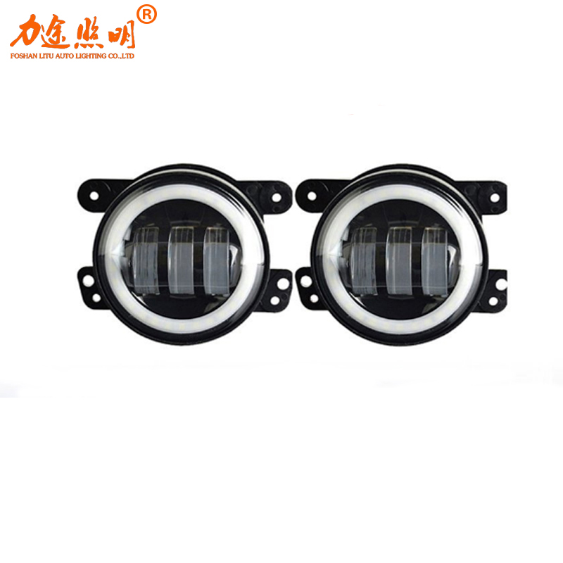 30w led 4 inch White Round fog lights lens Projector 4'' Fog Lamp For Offroad Jeep Wrangler Dodge Chrysler