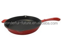 cast iron enamel round frying pan