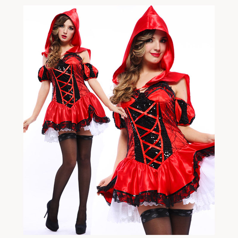 Sexy Womens Halloween Cosplay Costume Ladies Adult Little Red Riding Hood Fancy Dress Carnival Party Club Sexy Costumes