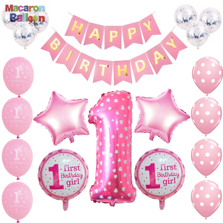 1st Birthday Party Decoration Kids Balloons DIY Number 1 First Foil Balloon Baby Shower Boy Girl Favors KK139