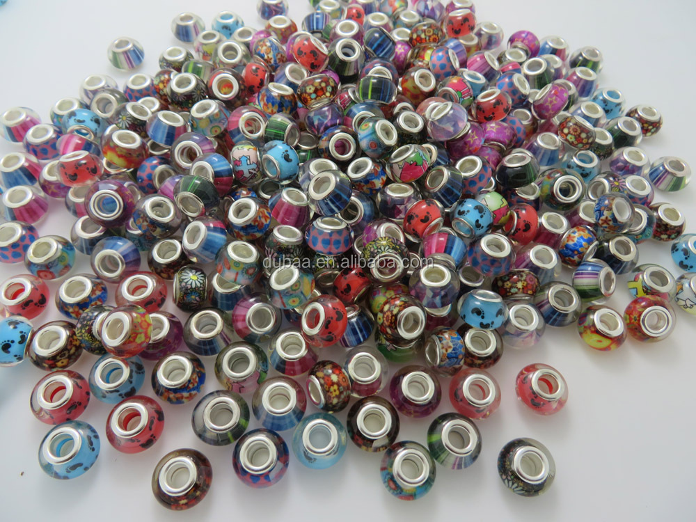 New Resin Plastic DIY Beads Accessories with Printing Fabric Pattern Images Inside, European Style Beads Charms Fashion Jewelry