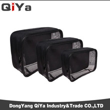 Custom Black Mesh Cosmetic Makeup Bag For Men or Women Travelling Wash Toilet Pouch