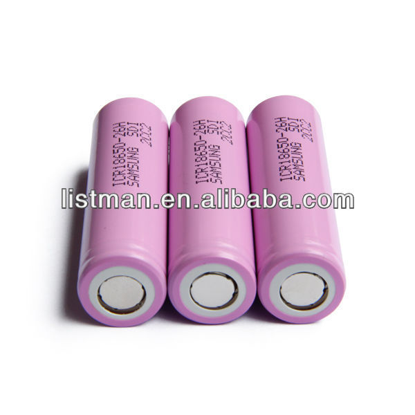 Samsung 3.7v 2600mah 18650 26H rechargeable lithium ion battery cell/ 18650 2600mah rechargeable2600mah battery 3.7v