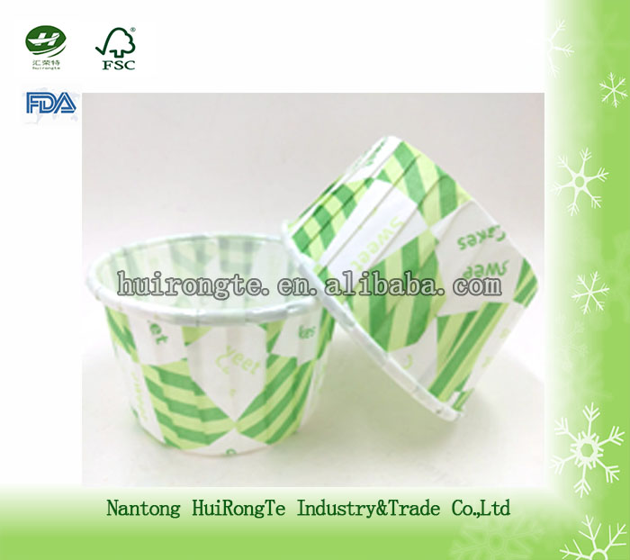 wholesale green oblique grid printed PET coated cupcake liners or dessert cup