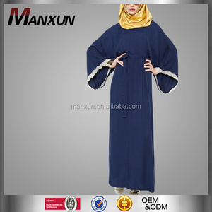 Top beliebtes Model Long Plus Size Muslim Abaya Navy Blue Dubai Damen Kaftan Arabische Kleider