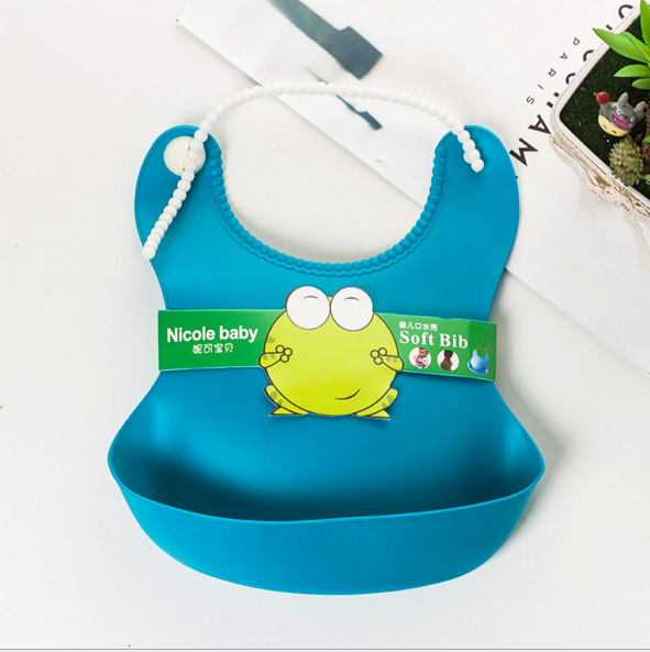 White Kids Boy Girl Feeding Waterproof Silicone Baby Bib For Children