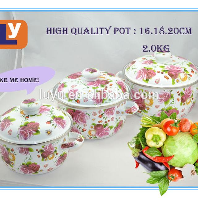 3 pcs/set enamel casseroles with lids decorated