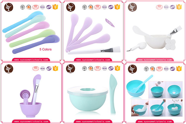 Oem plastic cosmetic mask bowl facial brush and spatula