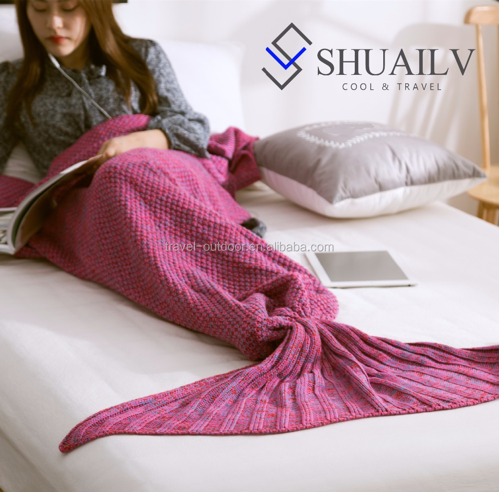 Womens winter warm handmade knitted fish mermaid tail blanket