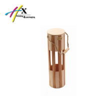 Window Showed Round Wooden Wine Gift Box with Handle