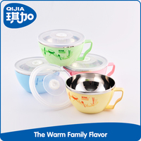 High quality stainless steel double insulated plastic noodle bowl