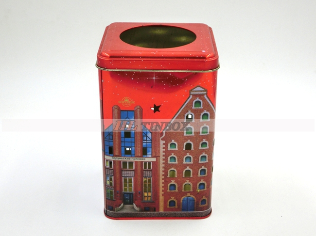 Square House Shape Candle Gift Tin Box with High End Printing